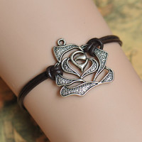 rose bracelet,retro silver rose pendant bracelet,brown leather bracelet---B057
