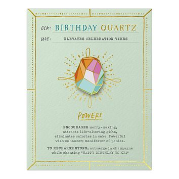 Birthday Quartz Fantasy Stone Magnetic Enamel Pin in Multicolor