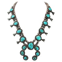 Pre-owned 1960s Squash Blossom Turquoise Necklace