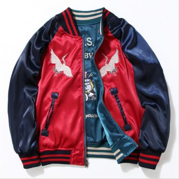 Embroidery baseball uniform coat jacket restoring ancient ways-Two sides wear