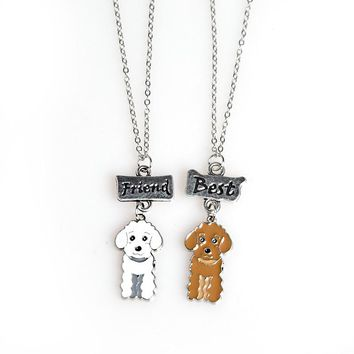 2PCS/SET Jewelry Poodle Dog Pendant Necklaces Best Friends Charm Necklace for Men Women Friendship Love Sisters Christmas Gift