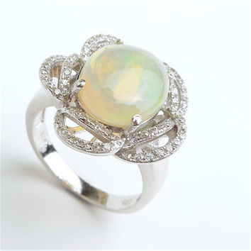 Free Shipping Romantic Fashion Rings For Women Unique Flower Shape Natural Opal Stone 925 Sterling Silver Wedding Rings
