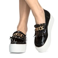 Tassel Chain Platform Loafers