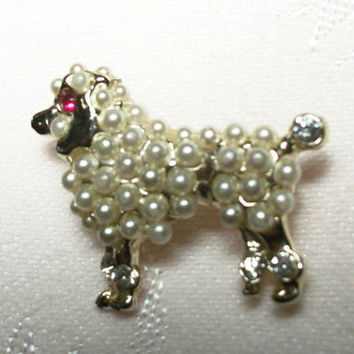 Pearl Poodle Brooch Vintage 1950's Rock and Roll Era Fashion Jewelry Gold Metal Pin  Rhinestone Embellishments Animal Canine Dog Bar Pin