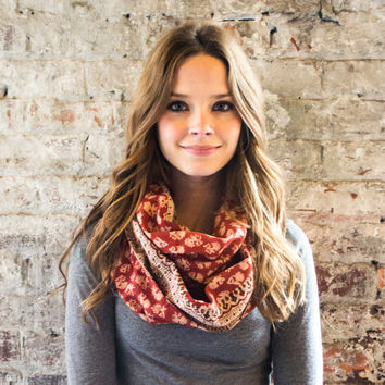 Maroon Prairie Infinity Scarf -Hand block printed, All Natural Vegetable Dyes, 100% Cotton Loop Scarf, Infinity Cowl, Tube Scarf