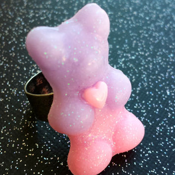 Gummy Bear Ring - Pastel Goth Ring - Kawaii Candy Jewelry - Cute Bear - Purple and Pink - Resin Ring - Gummi Bear Jewelry - Sweet Lolita
