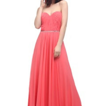 Pleated Sweetheart Rhinestone Belted Maxi Prom Dress