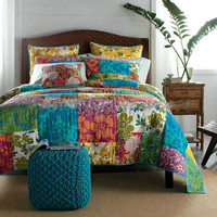 Tache 3 Piece 100% Cotton Colorful Flower Power Party Bedspread Set-Full