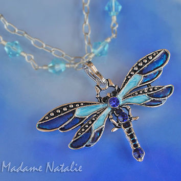 Blue Dragonfly Pendant, Blue Rhinestone and Enamel Dragonfly Pendant, Butterfly Pendant, Dragonfly Pendant for Long Sweater Necklace