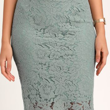Just like a Dream Mint Blue Lace Pencil Skirt