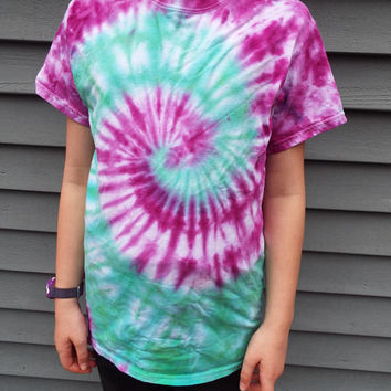 Colorful Tie Dye Swirl Shirt, Adult Small TieDye in Purple and Green, Boho Colors, Hippie Tshirt, Gift for Teen, Retro, 60s Party