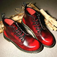 On Sale Hot Deal Winter Dr. Martens Casual Flat Shoes Anti-skid Boots Red G-CSXY
