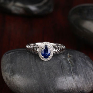 Oval Sapphire Engagement Ring Pave Diamond Wedding 14K White gold .81CT