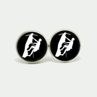 "Black and White Silver Cufflinks with ""Rock climbing sport"" for weddings, birthday or fathers day -Buy 3 get the 4th Free"