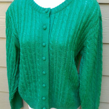 Vintage kelly green cable knit cardigan sweater size large
