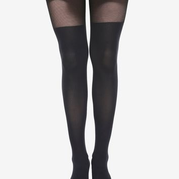 Blackheart Faux Black Thigh High Tights