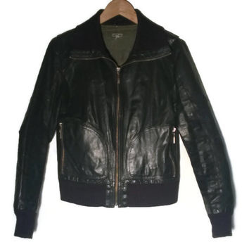 Vintage 70s leather jacket black XS S VINTAGE 1970s Leather Aviator MC Jacket Slim FIt Jacket Size 36-38