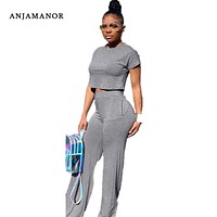 ANJAMANOR Casual Two Piece Set Crop Top and Wide Leg Pants Fall 2019 Sexy 2 Piece Outfits for Women Clothing Set D35-AE71
