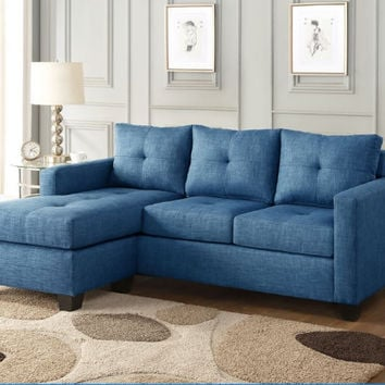 Home Elegance HE-9789BU-3LC 2 pc phelps blue textured fabric reversible sectional sofa set