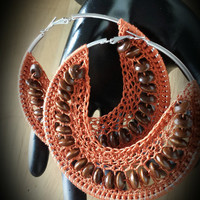 Deep Orange Crochet Beaded Hoop Earrings