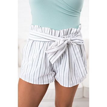 Because You Can Striped Shorts (White)