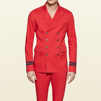 Gucci - raw cut stretch cotton double-breasted military jacket 370389Z48456513