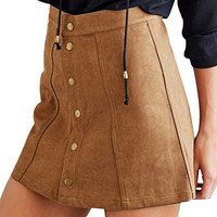 Women Sexy Skirt Retro Corduroy Skirt High Waist A Line Button Slim Skirts Elegant Single-Breasted Skirt Autumn Female