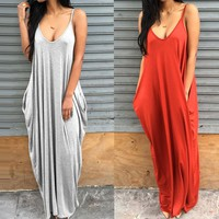 New Brand Summer Rompers Womens Jumpsuits Casual Loose Pockets Long Overalls Solid Sexy Backless Plus Size S-XL Jumpsuit