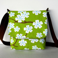 Small Canvas Messenger Bag / Womens Crossbody Hipster Purse - Apple Blossoms on Kiwi Green
