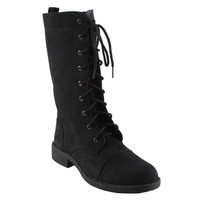 Dreams by Beston Women's 'KC' Black Lace-up Combat Boots | Overstock.com