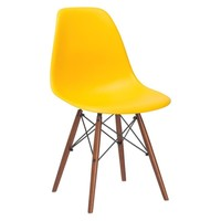Vortex Side Chair Walnut Legs in Yellow