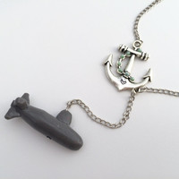 Anchor Submarine Necklace - Navy Jewelry - Submarine Wife - Navy Wife - Gifts for Women - USN - Personalized Jewelry - Navy Wife Necklace