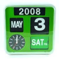 "CALENDAR WALL FLIP CLOCK 9.5""(GREEN)"