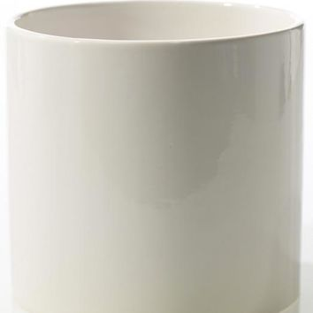 "White Cercle Ceramic Cylinder Floral Pot - 6.25"" Tall x 6.5"" Wide"