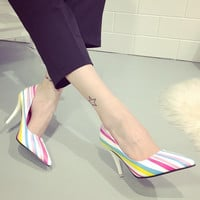 Womens Playful Pretty Stripe Heels
