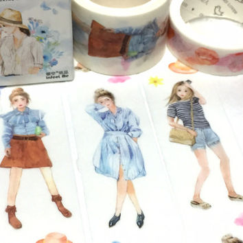teen girl washi tape 5M x 3cm fashion girl cool girl cozy dress masking tape Japan comic girl natural beauty sticker tape girl diary decor