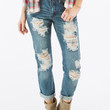 Dark Wash Distressed Boyfriend Jeans