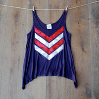 4th of July Tank Top Sequin Chevron Tank Tee T Shirt - Red White and Blue USA 4th of July America American Flag Liam Payne Summer Womens