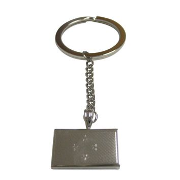 Silver Toned Etched Micronesia Flag Pendant Keychain