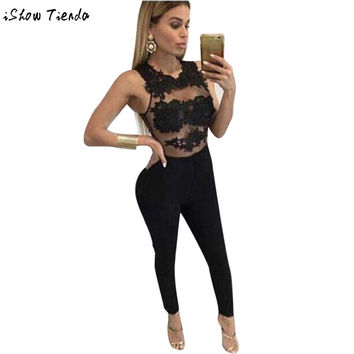 Women Jumpsuit Mesh Lace Floral Patchwork Striped Hollow Out Party Playsuit Long Jumpsuit Ropa Mujer #2123
