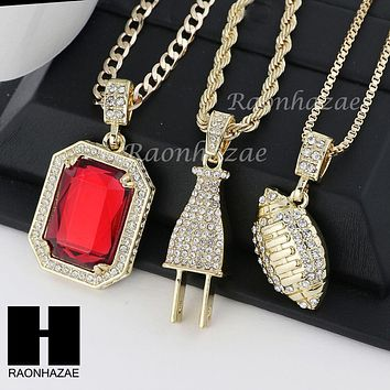 """ICED OUT RUBY FOOTBALL PLUG PENDANT 24"""" 30"""" ROPE BOX CUBAN CHAIN NECKLACE SET S1"""