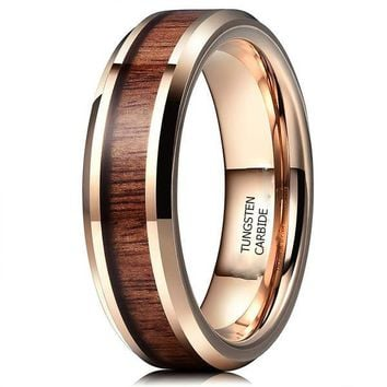 CERTIFIED 6mm Tungsten with Real Koa Wood Inlay Rose Gold Flat Engagement Band