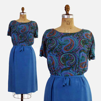 Vintage 60s Silk DRESS / 1960s Blue Paisley & Raw Silk Tailored Dress M