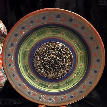 c1920 Rare Hand Painted Terracotta Aztec Calendar Plate With Greens and Black