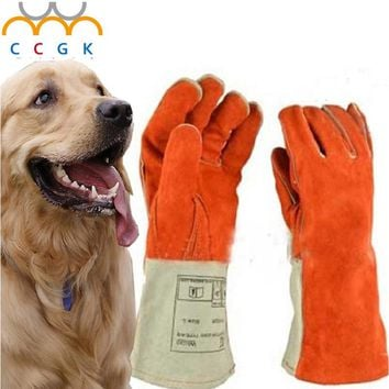 Thicken Leather Anti-bite gloves tactical animal training  for dog cat snake bite anti-scratch protective Training Feeding glov