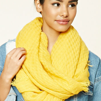 Square-Patterned Frayed Scarf