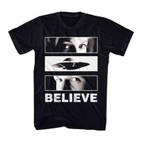 X-Files Believe UFO Eyes Black T-Shirt