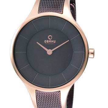 Obaku Ladies' Watch Rose Gold and Ip Brown Mesh V165LXVNMV