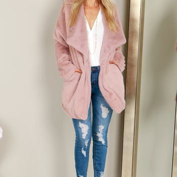Long Fur Coat Dusty Pink