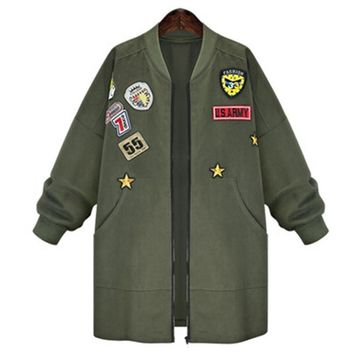 2016 Autumn Plus size XL- 5XL Women Military Badges Bomber Jacket Long Coats Army Green Oversize Casual Outerwear ladies jackets